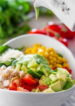 C/O http://www.jocooks.com/salads/chicken-spinach-salad-with-avocado-cilantro-dressing/