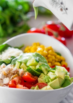 C/O http://www.jocooks.com/salads/chicken-spinach-salad-with-avocado-cilantro-dressing/